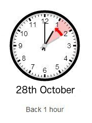 Clocks go back 1 hour