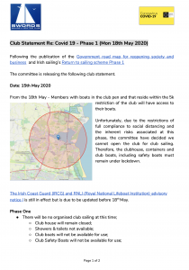 Club Statement Re: Covid 19 – Phase 1 (Mon 18th May 2020)