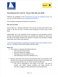 Club Statement Re: Covid 19 – Phase 2 (Mon 8th June 2020)