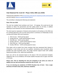 Club Statement Re: Covid 19 – Phase 3 (Mon 29th June 2020)